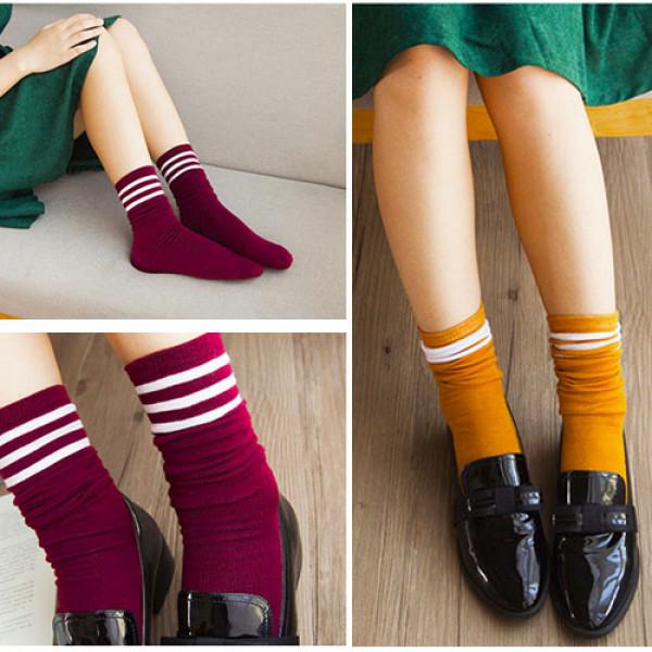 四季可穿韓版學院風韓國條紋堆堆襪/純棉襪子女中筒襪/素面百搭★均碼22-26★