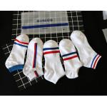 每組5入【紅白藍彩條船襪】今夏新款春夏棉質透氣船襪/短襪/隱形襪/地板襪/止滑襪/防滑襪